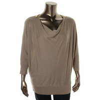 MICHAEL Michael Kors Womens Knit 3/4 Sleeves Pullover Sweater