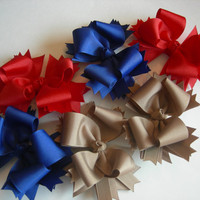 School Uniform Bows in Navy Blue, Red & Taupe (set of 3)