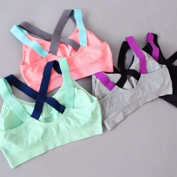 Cross Back Push Up Padded Sports Bra.