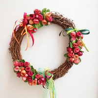 Red roses wreath, colourful ceramic roses, boho wreath, unique handmade, handpainted wreath of red and orange roses, rustic decor wreath