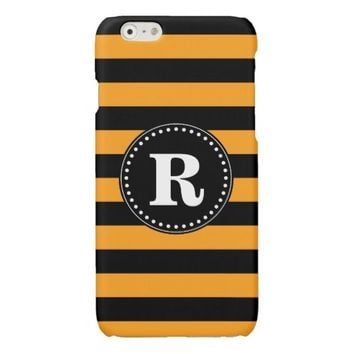 Black and orange stripes pattern glossy iPhone 6 case