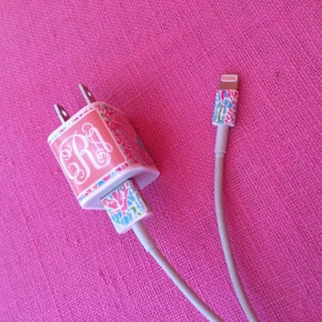 Monogram Iphone charger decals (2 for 11.00)