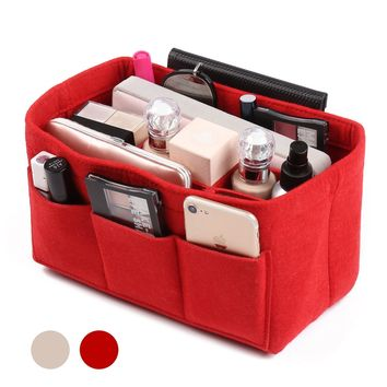 Felt Fabric Bag in Bag Organizer Multi-Pocket Handbag Organizer Purse Organizer Insert Bag