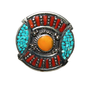 Amber turquoise coral Rings