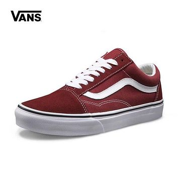 Vans Old Skool White Red Low Top Men Flats Shoes Canvas Sneakers Women Sport Shoes