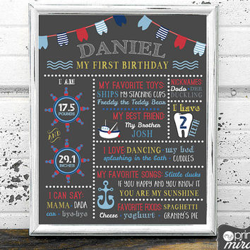First Birthday Poster - Printable 1st Birthday Board - 1st Birthday Sign - Nautical Birthday - Chalkboard Birthday Party  Milestone Board