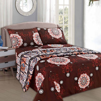 Tache 3-4 Piece Burgundy Palace Fancy Patterned Fitted and Flat Sheet Set