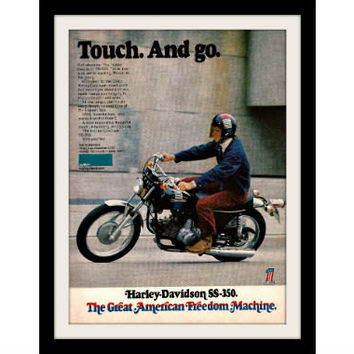 1973 Harley Davidson SS350 Motorcycle Ad Vintage Advertisement Print