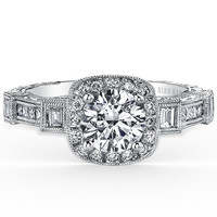"Kirk Kara ""Carmella"" Cushion Halo Baguette Station Diamond Engagement Ring"