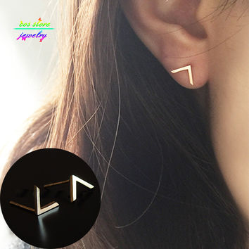 New Charm Brief Minimalist 14K Gold Plated Cut V Stud Earrings For Women Silver Earrings Everyday Earings Fashion Jewelry