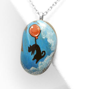 Black Cat Necklace, Red Balloon Pendant, Flying Cat Painting, Hand Painted Rock, Cat Lovers Accessory, Childrens Artwork, Blue Sky