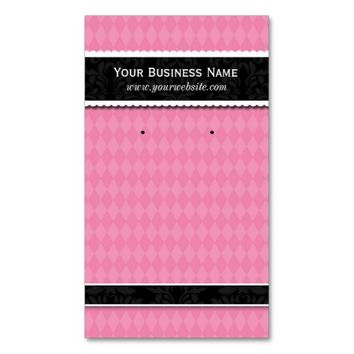 Custom Earring Cards Pink Black Business Cards