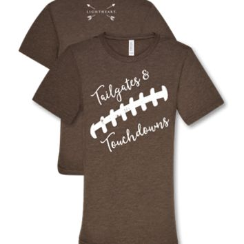 Southern Couture Lightheart Tailgates & Touchdowns Football Triblend Front Print T-Shirt