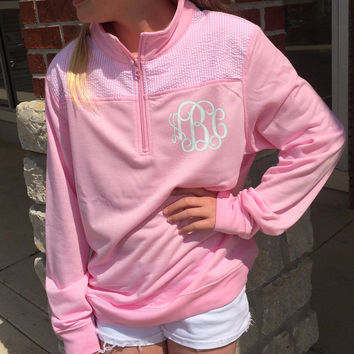 Quarter Zip PINK Seersucker Pullover Monogram  Font shown INTERLOCKING with white