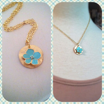 Gold Coin and Flower CharmNecklace by labellemoon on Etsy