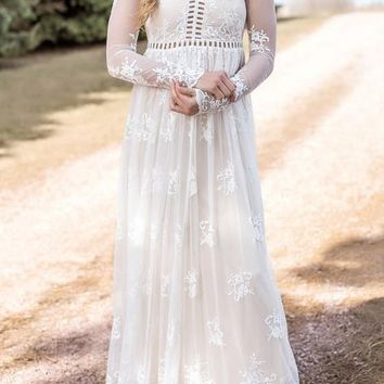 Casual White Patchwork Cut Out Lace Grenadine V-neck Wedding Gowns Elegant Maxi Dress