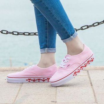 LMFON Design For Valentine's Day Vans AUTHENTIC Light Pink Sneaker Leisure Shoes