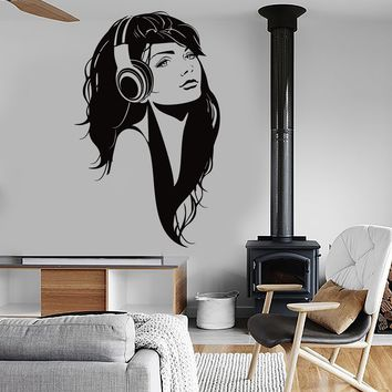 Wall Vinyl Decal Sexy Girl Head Phones Headphones Music Romantic Decor Unique Gift z3834