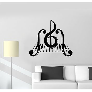 Vinyl Wall Decal Piano Key Music Treble Clef Musical Instrument Stickers Mural (g748)