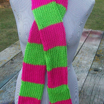 Knitted Pink and  Lime Green Long Scarf Ready to Ship