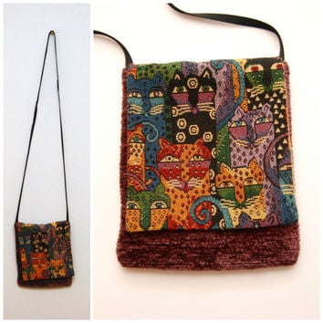Vintage 1990's Crossbody Bag Purse Small Satchel with Cat Tapestry Pattern and Chenille Fabric Tote Pouch Kittens Cats