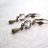 Bridal Jewelry - Elegant Small Earrings - Crystal Clear Rhinestone - Brass Leverback