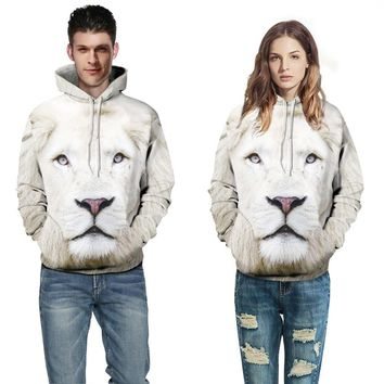 Couple Unisex Lion print Multicolor loose Pullover Hoodie Sweatshirt Top