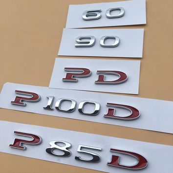 YooToBo 1pcs Customized Car Displacement Emblem ABS Sticker 60 75 85 90 P85D P90D P100D 75D Underline for Tesla Model S Model X