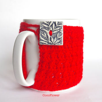 Red Cozy Mug Coffee Warmer Artisanal Ceramic button Sweater Tea Sleeve Cover Crochet Wool Ooak