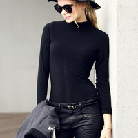 Black Long Sleeve Slim T-Shirt