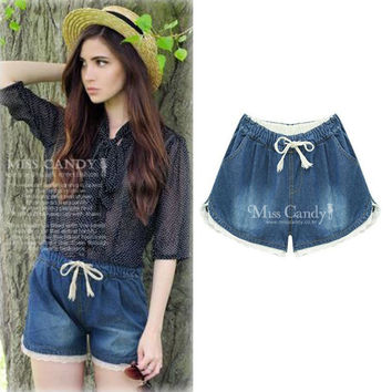 Summer 2016 Denim Lace Shorts Slim Fit pantalones cortos mujer Shorts Plus Size XXXXXL Short Jeans Women Shorts Denim Clothing