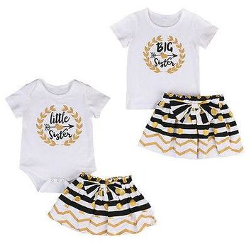 Big Sister Little Sister Gold and Black Top and Skirt