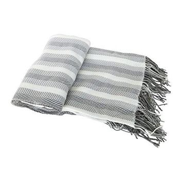 Ben and Jonah Knitted Herringbone Fringed Throw Blanket (Grey Stripe)