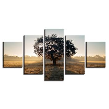 Wall Art Modern Prints 5 Piece Tree Sunshine Poster Modular Picture Panel Print