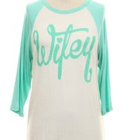 Mint Wifey Raglan Top in Plus Size (XL)