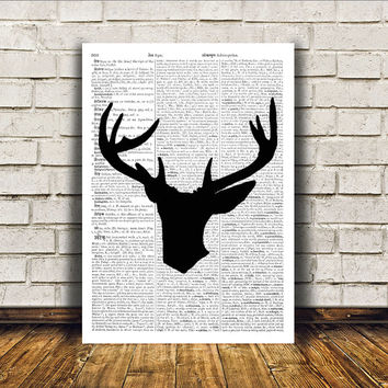 Deer poster Animal art Dictionary print Wall decor RTA246