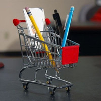 Mini Shopping Cart Pen Holder Desk Accessory