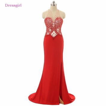 Red 2018 Prom Dresses Mermaid High Collar Beaded Crystals Slit Backless Sexy Long Prom Gown Evening Dresses Robe De Soiree