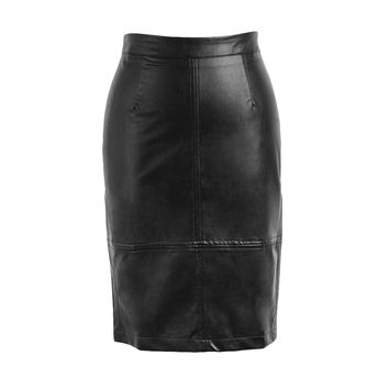Womens PU Leather Skirt Press Stud Zip Back Saia Longa Slit Back High Waist Pencil Skirts Bodycon Midi Skirt SM6
