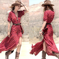 Boho  Red Flowing Maxi Dress