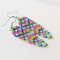 Micro macrame earrings, bohemian feathers, free spirit inspired - Colorful Pink Yellow Blue Mint