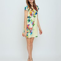 Ibiza T-Shirt Dress in Yellow Tropical