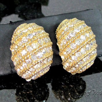 Vintage CINER RHINESTONE Earrings Designer Signed Gold Tone Clip