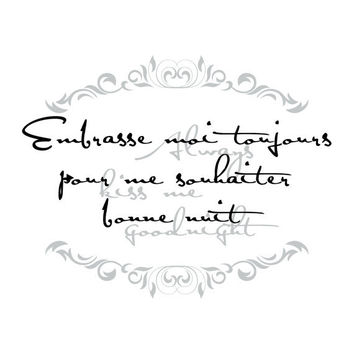 French Nursery Quote Elegant Script Vinyl Wall Decal For Baby Nursery Or Girls Room - Alway Kiss Me Goodnight Wall Art 22H x 28W CQ020