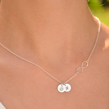 Mothers necklace Personalized Initial infinity necklace Birthstone necklace st.silver Monogrammed Valentine's Day for mom birthstone jewelry