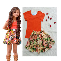 Girls Floral Summer T Shirt + Flower Casual Outfit