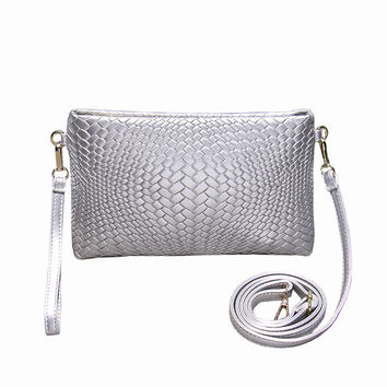 Fashion Women Day Clutch Silver Knitting Leather Messenger Bags Small Designer Beach Hand Bag Black Evening Party Purse XA20H