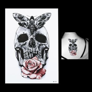 Skull Skulls Halloween Fall 1 Sheet New Gray Butterfly  Rose Flower Arm Body Art Tatoo Sticker HB123 Waterproof Temporary Body Art Tattoo Paint Sticker Calavera