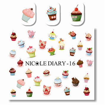 NICOLE DIARY Nail Art Water Tattoo Design Multifarious Ice Cream Sheet on Fingers Nail Art Water Decals 25950