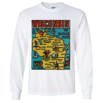 Vintage State Sticker Wisconsin Long Sleeve Shirt